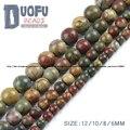 Top qualidade Pedra Natural Picasso jasper Stone beads Rodada Solta pérolas bola tamanho 6/8/10/12 MM para Fazer Jóias pulseira DIY NOVA