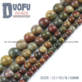 Top quality Natural Stone Picasso jasper Stone beads Round Loose beads ball size 6/8/10/12MM for Jewelry bracelet Making DIY NEW
