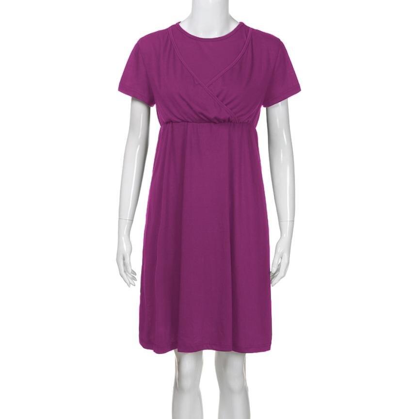 BMF TELOTUNY Fashion Womens Maternity Nursing Wrap High waist Dress Short Sleeve Double Layer Dress Mar22 Drop Ship