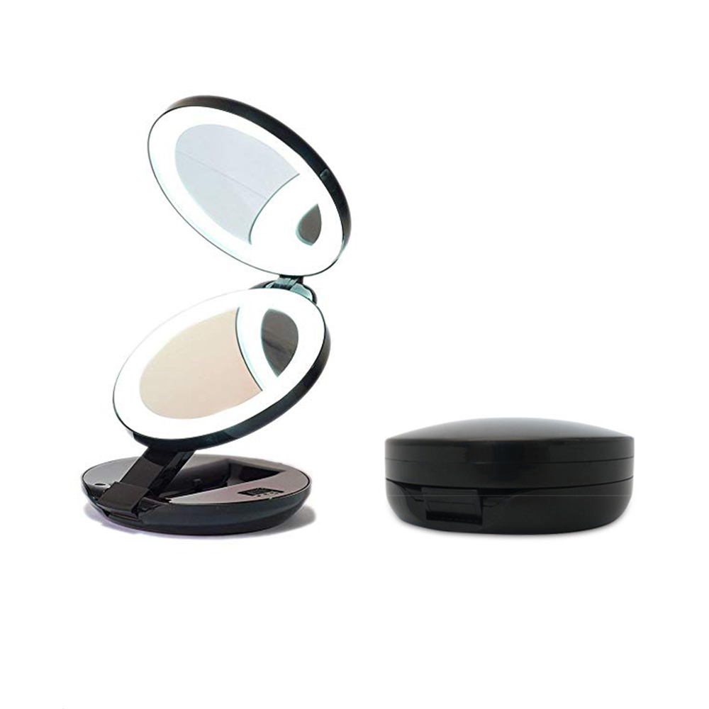 Portable LED Lighted Makeup Mirror Vanity Compact Women Pocket Mirrors Vanity Cosmetic Hand Mirror 10X 5X Magnifying Glasses|Vanity Lights| |  - title=