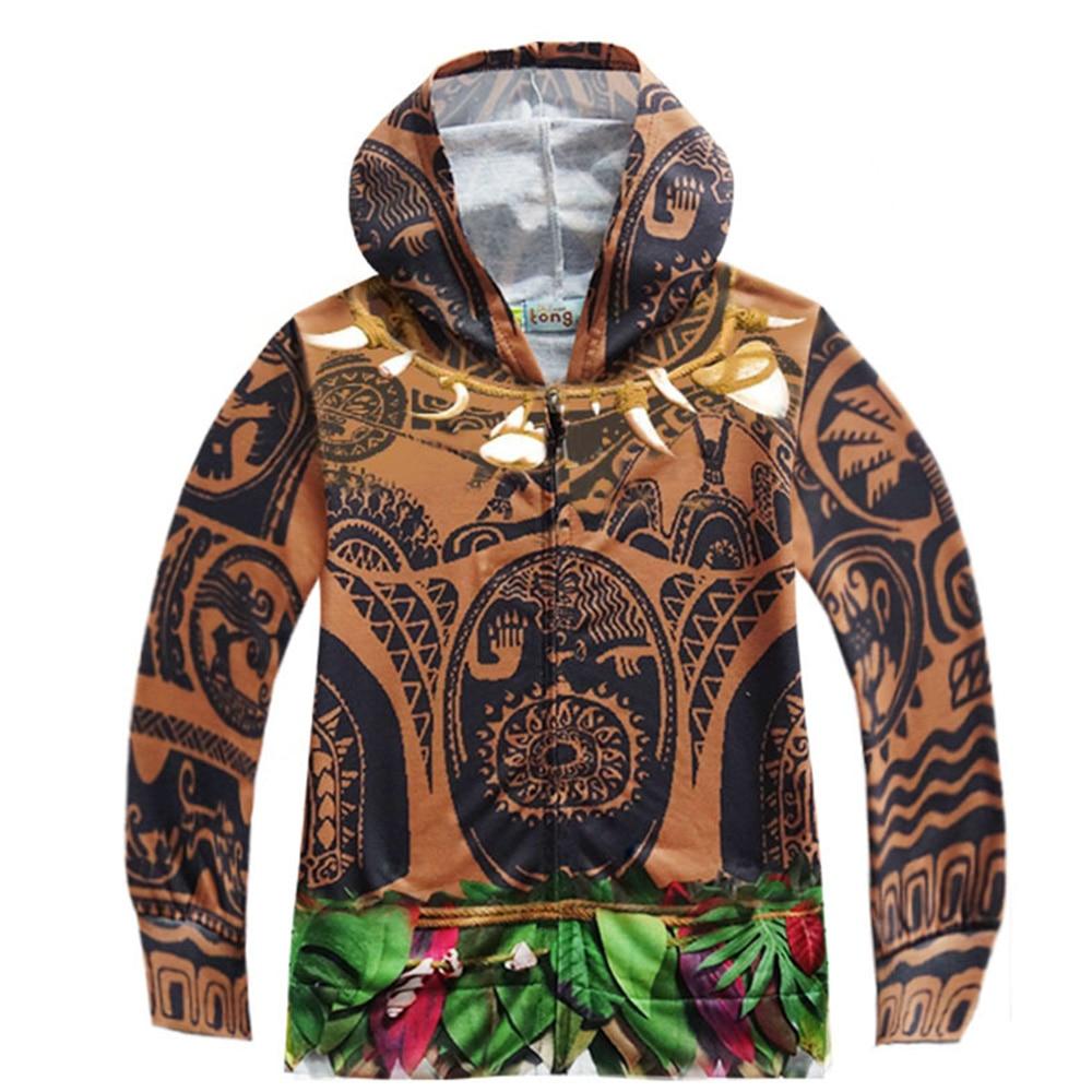 New Cartoon Moana boy coat top Kids shirt hoodie Moana hoody cosplay costume