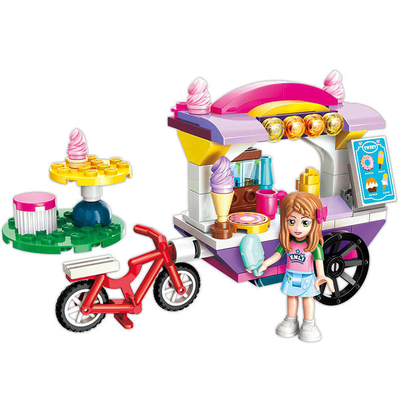 ENLIGHTEN City Friends Princess Ice Cream Car Colorful Holidays Stall Stage Building Blocks Sets Kids Toys Compatible Legoings