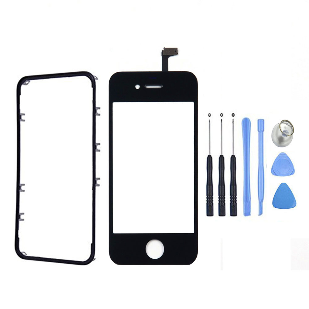 Front Glass Lens Panel Touch Screen Digitizer For iPhone 4 4S With Bezel Frame & Adhesive+Free Tools With Tracking Number