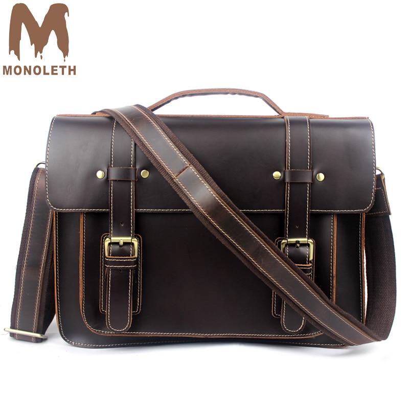 цена MONOLETH Genuine Leather Crazy Horse Men's retro cover Hasp Briefcase Business Handbag Messenger Bags Male Vintage Shoulder Bag