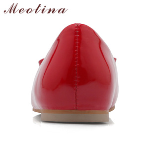 Image 4 - Meotina Women Shoes Ballet Flats Women Flats Bow Square Toe Ballerina Flat Boat Shoes Loafers Shoes Big Size 33 46 Zapatos Mujer