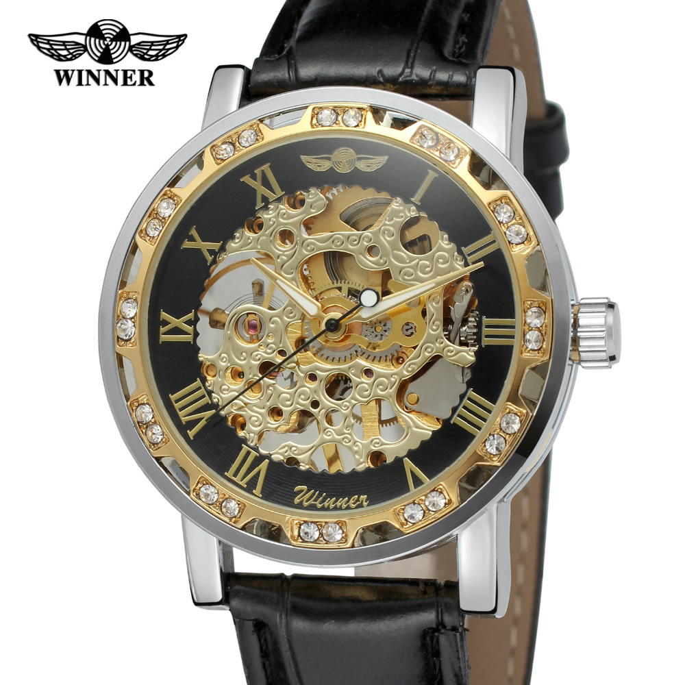 T Winner Watches for Men on Sale Skeleton Leather Crystal ...