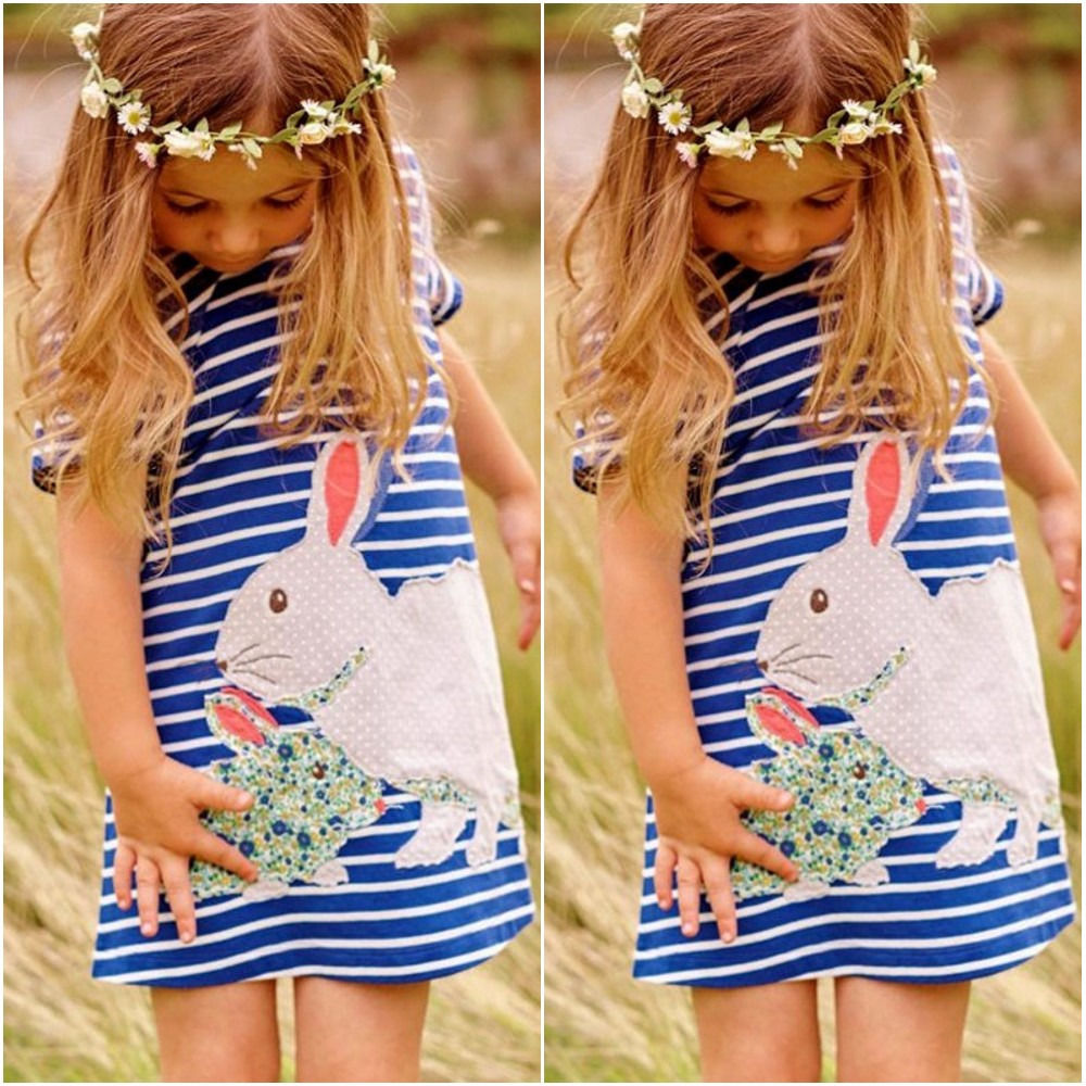2016 New Lovely Rabbit Kids Baby Girls Navy White Striped Cartoon Tutu Cute Dress Outfits Clothing Summer Dresses 2 3 4 5 6 7y