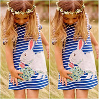 2016 New Lovely Rabbit Kids Baby Girls Navy White Striped Cartoon Tutu Cute Dress Outfits Clothing