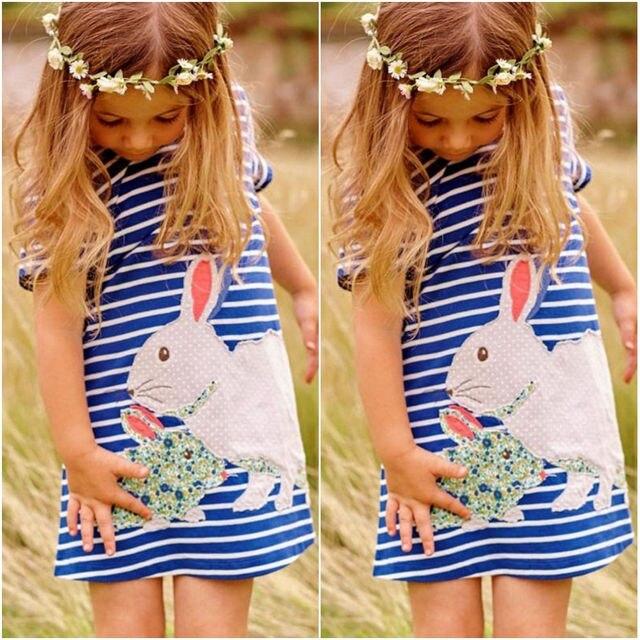 2016 Nuevo encantador conejo niños niñas azul marino blanco rayado dibujos animados tutú lindo vestido trajes ropa vestidos de verano 2 3 4 5 6 7y