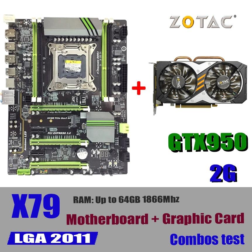 X79 placa base LGA 2011 CPU soporte de 64 GB 1866 Mhz DDR3 REG ECC memoria de servidor de x79 combos GTX950 GTX 950 2 GB 2GD5 2G