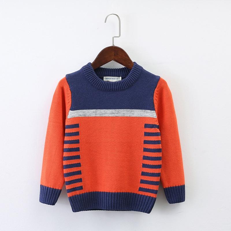 Muchachos suéter o-cuello abrigo 2 color patchwork bebés suéter invierno Otoño Invierno de punto jerseys niños ropa