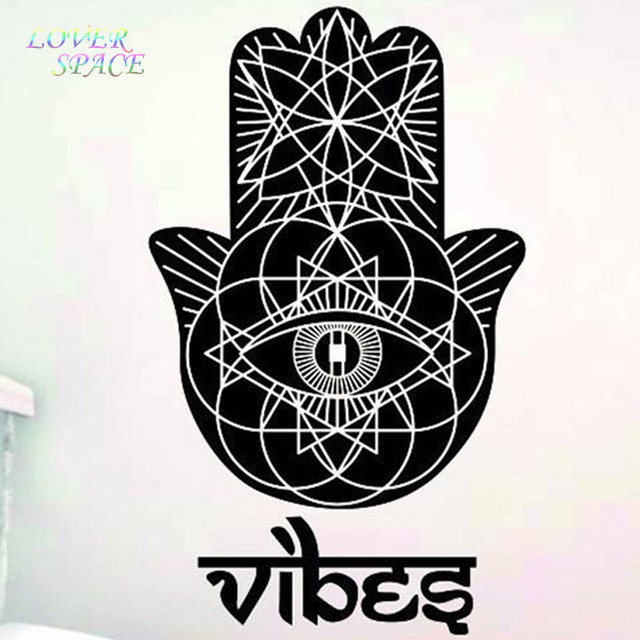 FREE SHIPPING Wall Decals Vinyl Sticker Yoga Vibes Fatima Hand Hamsa Indian Buddha Background Stickers