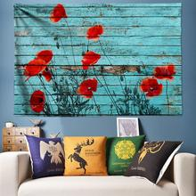 Poppies Flower Art Decoration Tapestry Wall Hanging India Tapestry Vintage Wood Hippie Wall Tapestry Bohemia Wall Cloth Large