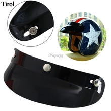 Universal 3 Snap Visor Face Black Shield Lens For Motorcycle Helmets Open Face Drop shipping