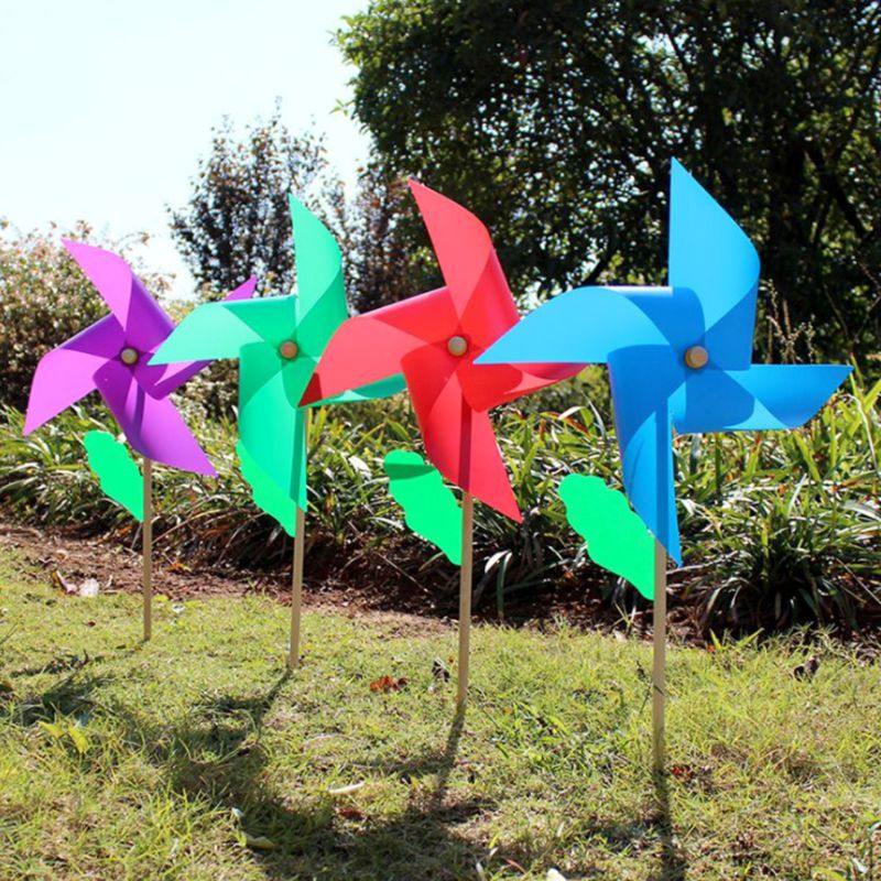 1pc Garden Yard Party Camping Windmill Wind Spinner Decoration Ornament Kids Toy