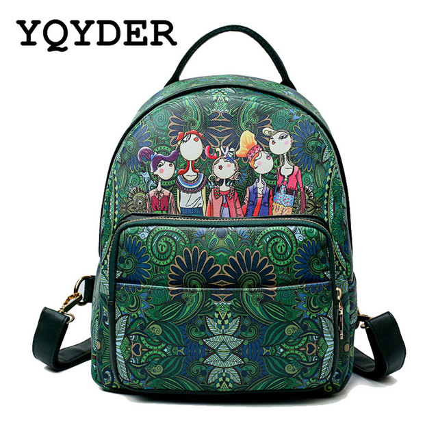 f615c6ba929f Fashion Cartoon Print Backpack Women Forest School Bags for Teenage Girls  Green Bagpack Large Capacity Back Pack Korean Mochila