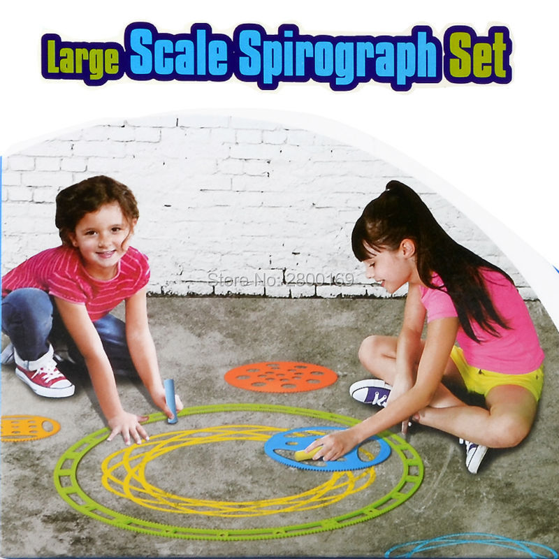 Large Spirograph Drawing toys set 9 stencils and 3 chalk