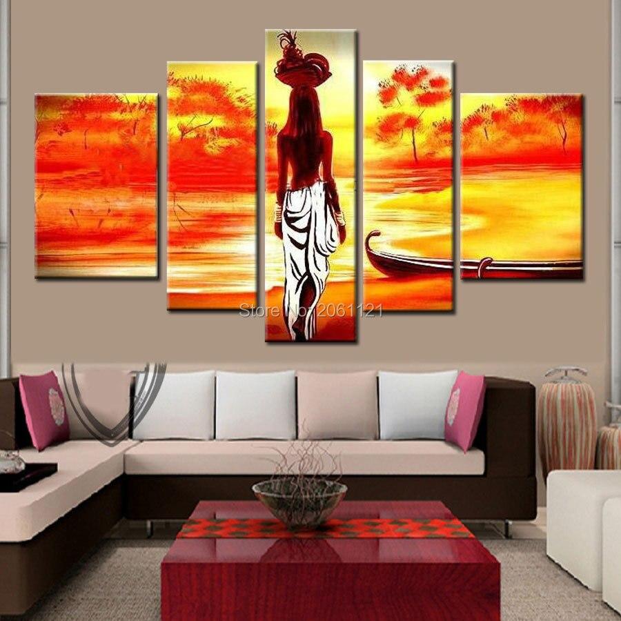 5 Pièce Livraison Gratuite Pas Cher Peint À La Main abstraite Moderne Mur Peinture fille africaine Accueil Art Contemporain Photo Peinture sur Toile