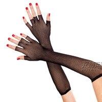 Moda Sexy delle donne semi finger raso della maglia della garza lungo guanti neri guanti 1376