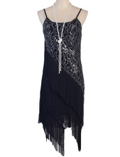 Women's 1920S Paisley Art Deco Sequin Tassel Double Side Glam Party Gatsby Flapper Dress Six Color Three Size
