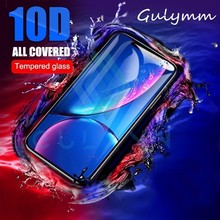 10D Protective Glass For iPhone X XS XR XS Max Full Cover Screen Protector On the iPhone X 6 6S 7 8 Plus Tempered glass 9H HD цены