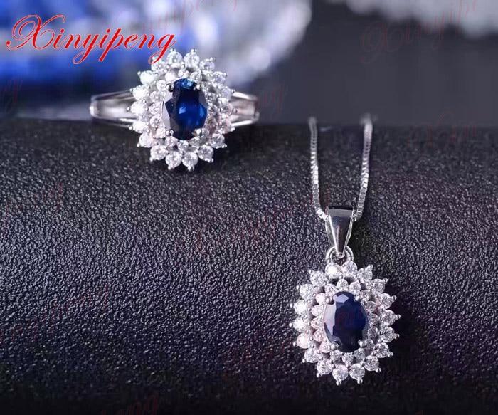 925 zilver ingelegd 2 karaat natuurlijke saffier sieraden set MS donkerblauw Luxe en royale