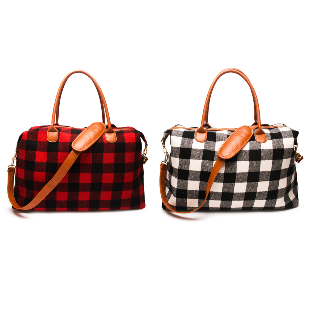 Wholesale Plaid Travel Bag Buffalo Large Capacity Duffle Handbag Overnight Weekend Tote Bag With PU Handle Free Shipping DOM1065