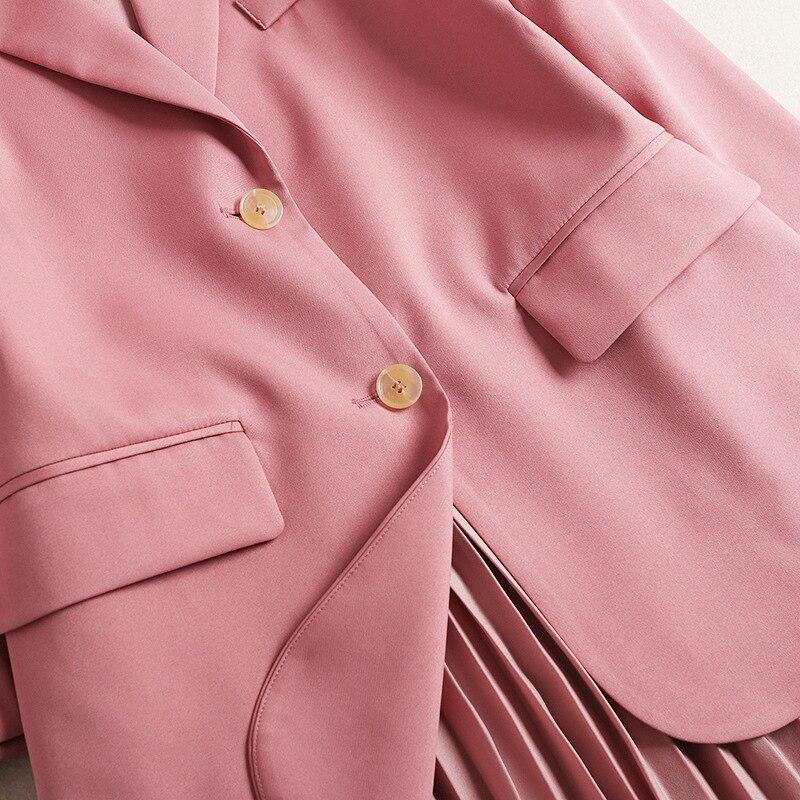 Costume Manteau Mi Rose mollet Plissée Entaillé Grade À Robe Printemps Col Designer Blazer Femmes Bretelles Ensembles Longueur Haut Vêtements Ensemble De 2019 TY7qAAfw