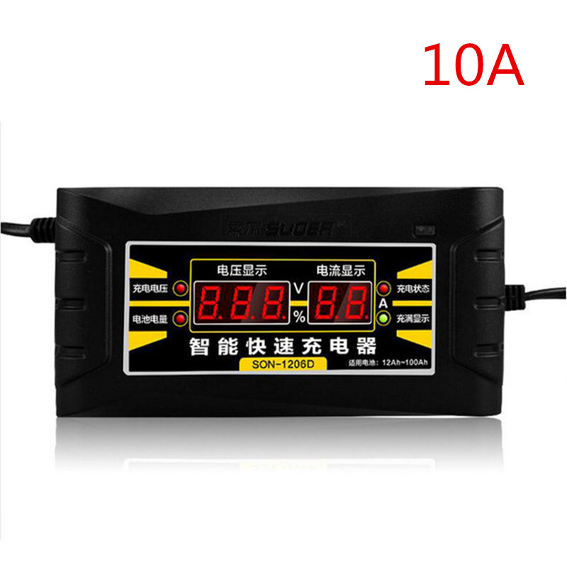 ihens5 1210D Car Battery Charger 12V 10A Smart Fast Intelligent Lead-acid Battery Charger with LCD Display for Car Motorcycle