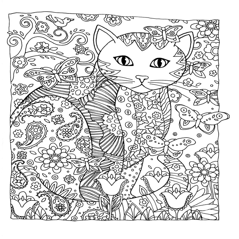 24 p 18.5x21 cm Libro de Colorear Refugio Creativo Creativo Gatos ...