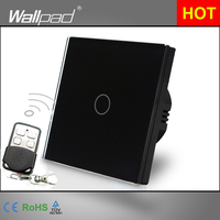 High Quality EU UK Standard Wallpad Luxury Black Touch Crystal Glass 1 Gang Wireless Remote Control