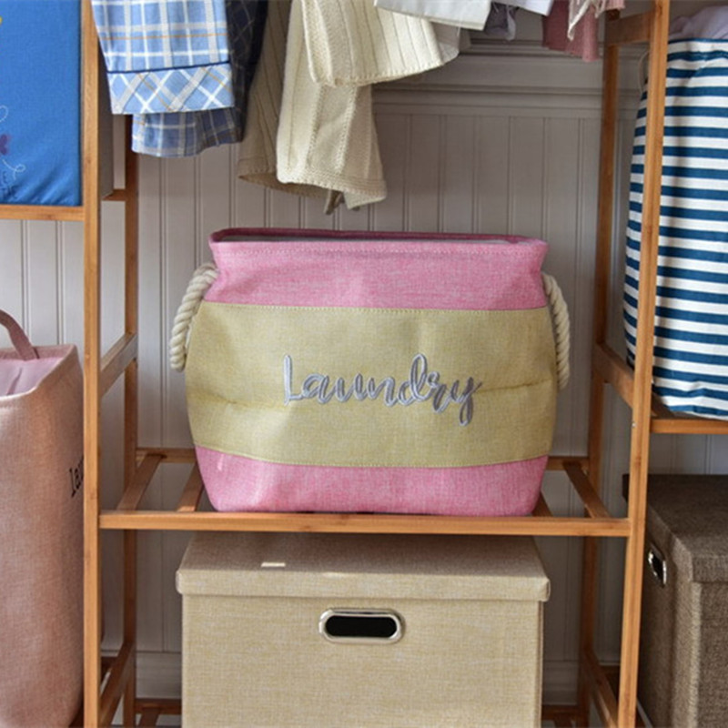 Canvas Storage Boxes For Wardrobes: Embroidery Print Storage Basket For Dirt Clothes Sorter
