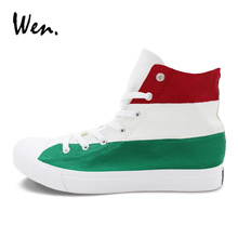 b31fb016a6c7 Wen Design Hungary Flag Canvas Hand Painted Shoes Men Women Sneakers High  Top