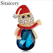 Sitaicery Christmas New Year Snowman Brooch Corsage Gifts Banquet Pins Decorations Badge Exquisite Brooches For Women