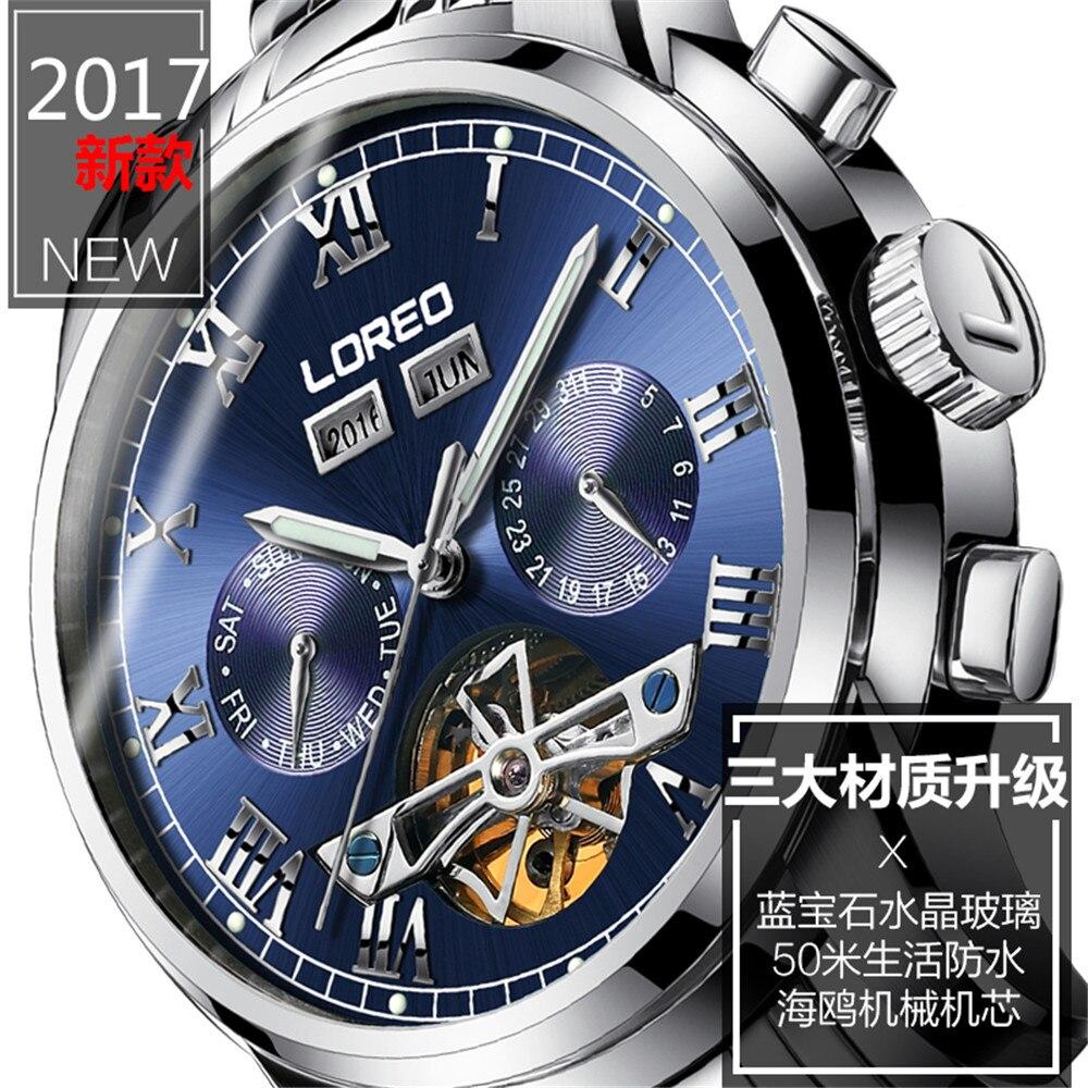2019 marque de luxe LOREO Tourbillon montres hommes montres mécaniques saphir étanche 50m mode hommes montre heures Relogio - 3