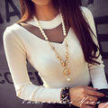 New Women's Long Sleeve Shirt Casual Lace  Loose Cotton Tops Lady T Shirt
