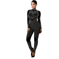 NEW Women Sequins Jumpsuits Long Bodysuit 2018 One Piece Jumpsuit New Arrive Bodycon Full Sleeve O