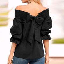Sexy Off Shoulder Back Bowknot Blouse And Shirts Spring Summer Strapless Women Ruffle Sleeve Pleat Tops Casual Loose Blusas plain off shoulder asymmetric bowknot blouse