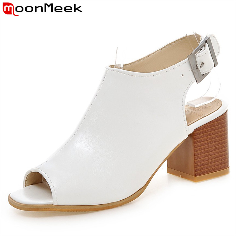 03632bf4fe8 MoonMeek 2018 new arrive women high heels sandals fashion peep toe buckle summer  shoes simple comfortable solid big size 34-43