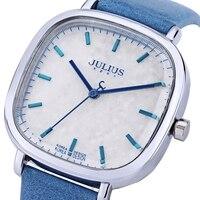 JULIUS Women Quartz Watch Water Resistance Shiny Square Dial Genuine Leather Band Wristwatch
