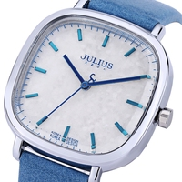 JULIUS Women Quartz Watch Water Resistance Shiny Square Dial Genuine Leather Band Wristwatch
