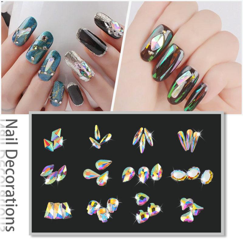 20 шт./упак. книги по искусству индивидуальное плоской формы ногтей стразы стекло АВ цветные камни для 3д ногти книги по искусству украшения