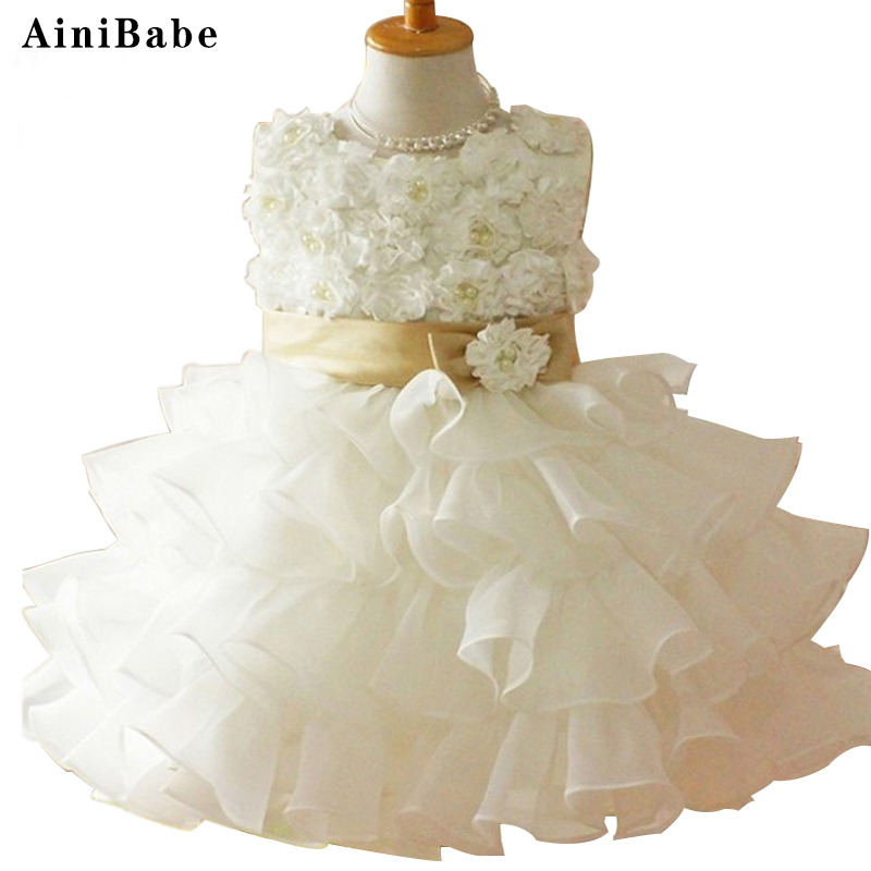 New 2015 Flower Girl Christening Wedding Party Pageant Dress Baby First Communion Dresses Toddler Gowns Child Bridesmaid Dress new brand flower girl dresses ivory real party pageant communion birthday party girls kids bridesmaid toddler wedding dress d10