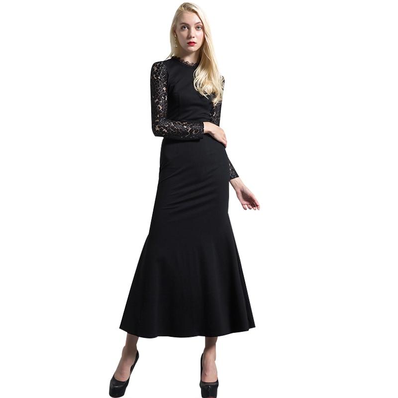 Hohe Qualität Spitze Nähen Baumwolle Schwarz Kleid Frauen Langarm ...