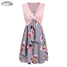 RONNYKISETwo Pieces Sundress Floral Printed Womens Fashion Ruffles Sleeveless Dresses Summer Casual Sexy Dress