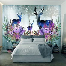 beibehang papier peint mural 3d Custom fashion HD beautiful sika deer floral wallpaper papel de parede 3d wallpaper vinyl цена в Москве и Питере