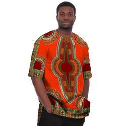 Африканская одежда настоящий традиционный бросился 2019 хлопок, в фольклорном стиле Мужская плюс размер футболка Дашики платье