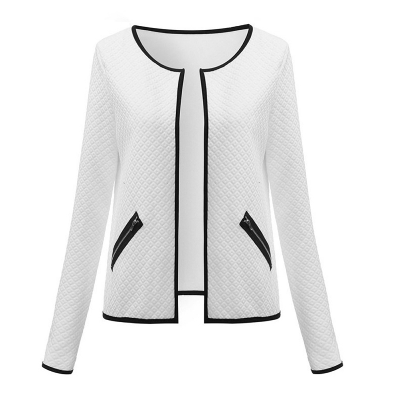 100% QualitäT 2018 Herbst Strickjacke Jacken Plus Größe Taschen Langarm Kragen Öffnen Stich Karierten Kurzen Mantel Elegante Jacken