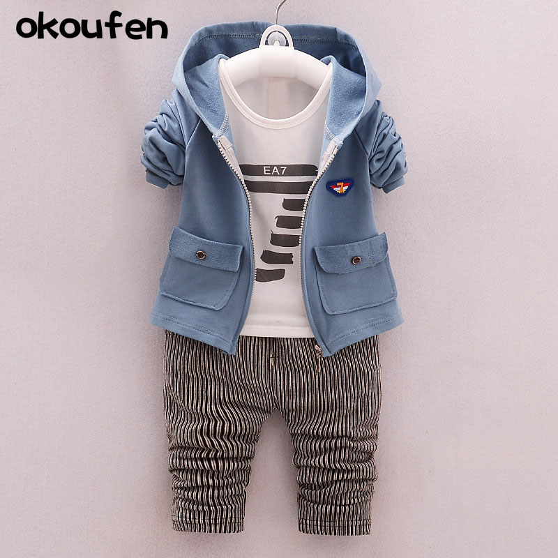 okoufen 2017 new baby boy clothes suit boy coats shirt pants 3 in 1 kids clothing