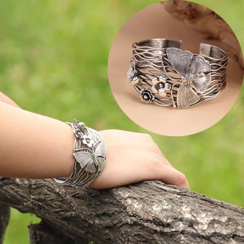 100% puro 925 Pulseira de prata Esterlina mulheres ampla 42mm Tailândia artesanal borboleta flores Pulseira abertura Oco mulheres jóias - 4
